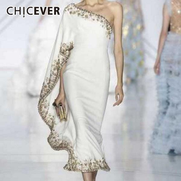 CHICEVER Lace Ball Gown Dress Women Asymmetrical Collar Off Shoulder Half Sleeve Ruffles Slim Female Dresses Fashion New Summer