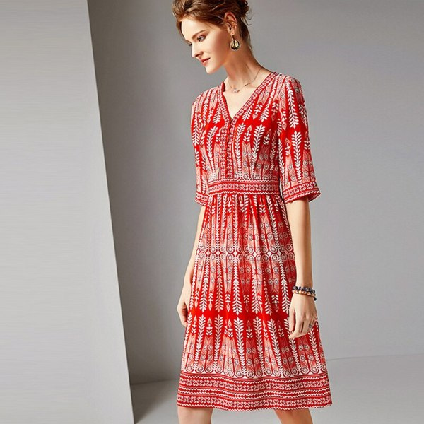 Dress Women 100% Silk Fabric Printed V Neck Half Sleeves High Waist Casual Style Dress New Fashion Spring 19