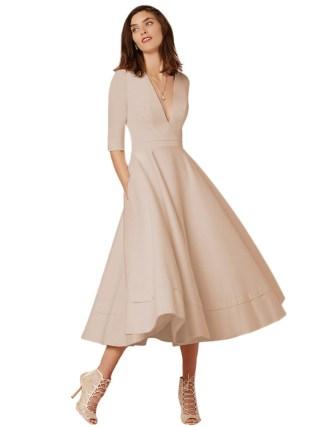 19 Elegant Evening Party Gown Dress for Women Sexy V Neck Half Sleeves High Waist Pocket Dress Pleated Swing Midi Dress Women