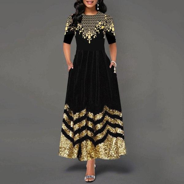 Women Round Neck Boho Dress Half Sleeve female elegant vintage floral printed a line pocket Black maxi dresses robe femme 19
