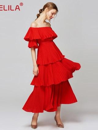 YIGELILA Women Red Pleated Long Dress Fashion Slash Neck Off Shoulder Half Sleeve Empire Slim Draped Party Dress XL Size 63660