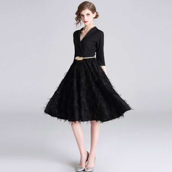 Feathers Patchwork Black A-line Office Dress 19 Spring Women Half Sleeve Notched Formal Dress Female Tassel Dress With Belt