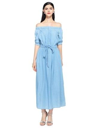 19 new summer casual slim dress women elegant slash neck half sleeve denim dresses vestidos de verano women clothes 19