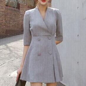 spring women work OL temperament dress simple double-breasted V-neck dress solid color half sleeve dress