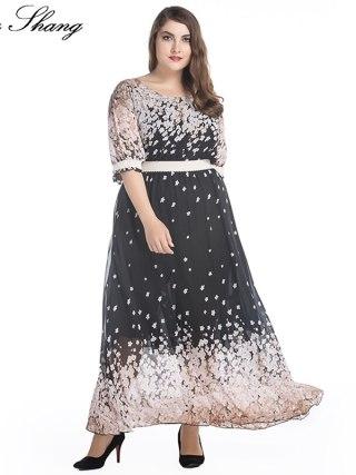 Women Summer Chiffon Dress O Neck Half Sleeve High Waist Floral Print Long Bohemian Beach Dress 5XL Large Size Women Clothing