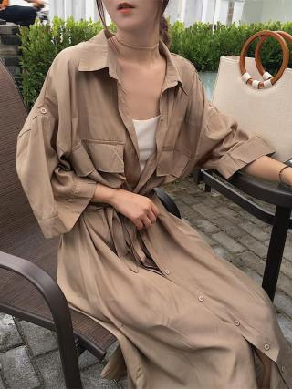 Women cardigan pocket half Sleeve Brown Dress Oversize Collar Buttons Long Shirt Dresses Women Casual Dress Robe Femme