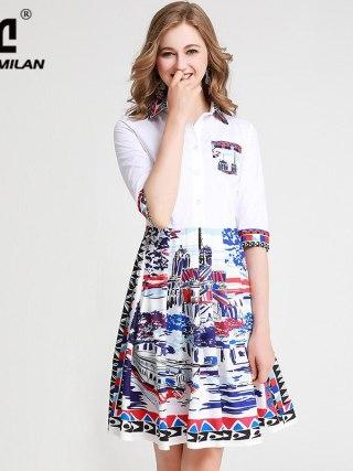 Women's Runway Dresses Turn Down Collar Half Sleeves Printed Fashion High Street Casual Dresses