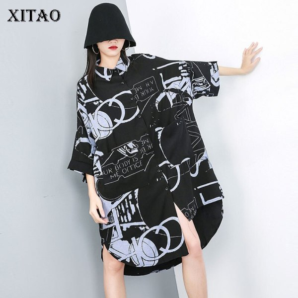 [XITAO] Casual Women Fashion 19 Summer Turn-down Collar Half Sleeve Loose Dress Female Irregular Button Mid-calf Dress ZQ1707