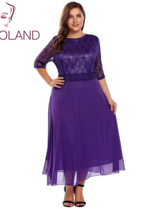 IN'VOLAND Women Lace Dress Plus Size Summer Autumn O-Neck Half Sleeve Patchwork Slim A-Line Dresses Feminino Vestidos Big Size
