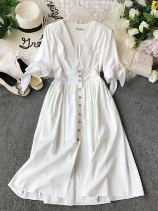 19 new fashion women's dresses Vintage half sleeve length summer dress white linen V-neck holiday