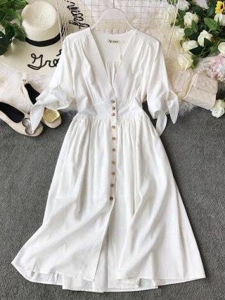 19 new fashion women's dresses Vintage half sleeve length summer dress white linen V-neck holiday