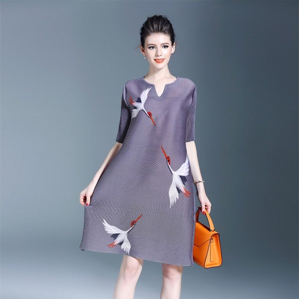 Plus Size Dress Women Casual Print Spring New Fashion Miyake Pleats Loose Half sleeve Dresses Wholesale Free Shipping