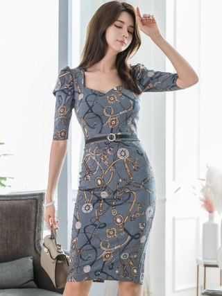 Printed Jewelry Autumn Pencil Dress Women Half Sleeve Package Hip Wrap Dress Women Winter Casual Dresses Ladies Vestido Largo