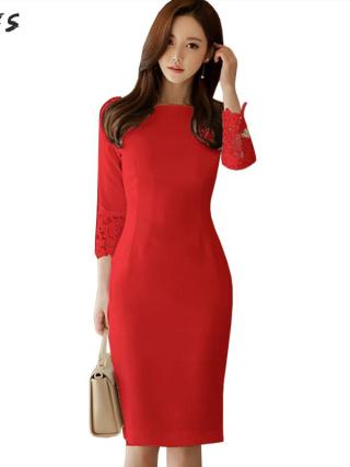 Autumn Dress White Red Black Half Sleeve Elegant Lace Womens Dresses Bodycon Bandage Vintage Sexy Party Midi Pencil Wrap Clothes