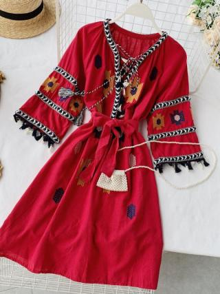 19 new fashion women's dresses Seaside holiday ethnic style embroidered fringed tie V-neck half sleeve dress