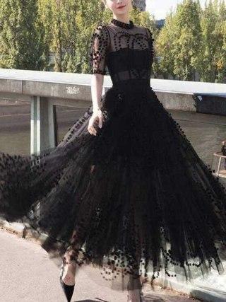 Runway Women Mesh Ball Gown Party Long Dress 19 Spring Sexy Black Ball Half Sleeve Slim Boho Dress Elegant Vestidos