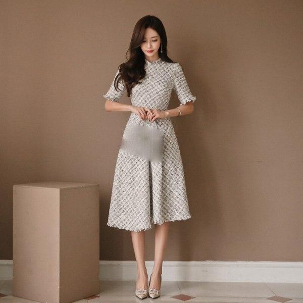 New Casual Fragrant Tweed Dress Elegant Half Sleeve High Waist Plaid Dress Empire Slim Fit A Line Tassel Knee Length Dress