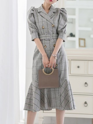 Vintage Double-breasted Suit Collar Plaid Dress Women Summer Half Sleeve Sashes Dresses Elegant Office Ladies Dresses vestidos