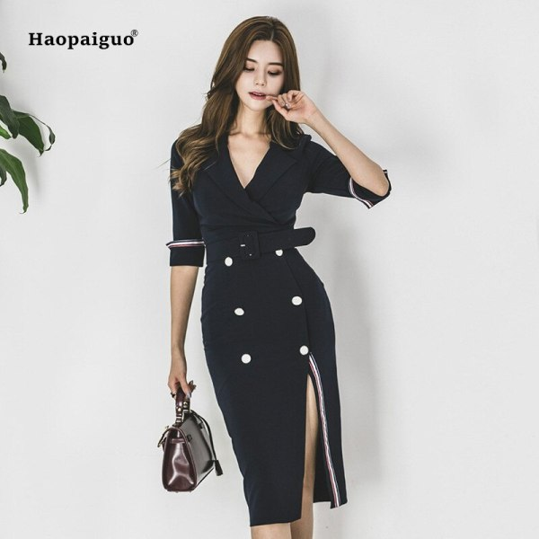 Plus Size Pencil Dress 18 Women Blue Half Sleeve Notched Knee-length Korean Work Suit Dress Autumn Wrap Button Dresses Ladies
