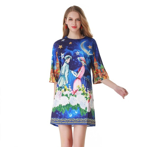 Runway Summer Dress Women Fashion Designer Princess Prince Floral Print Half Sleeve A Line Elegant Female Vintage Mini Dress