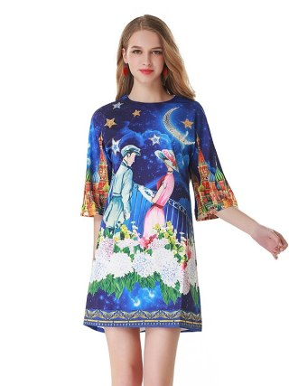 Runway Summer Dress Women Fashion Designer Princess Prince Floral Print Half Sleeve A Line Elegant Female Vintage Mini Dress