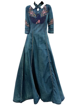 New Spring autumn Women half Sleeve Slim Denim Dress Summer Casual Female Vintage embroidery Dress Ladies Long Dresses