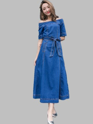 HAMALIEL Women Slash Neck Big Swing Cowboy Dress Summer Off Shoulder Denim Half Sleeve Long Dress Fashion Lace UP Maxi Vestidos