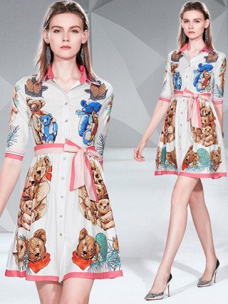 19 Summer New Women Sweet Bear Cartoon Print Dress A-Line Mini Shirt Dress Turn Down Collar Half Sleeve Casual Elegant Dresses