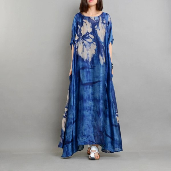 Real Chiffon Silk Runway Dress Women Summer Vintage Loose Printed Plus Size Dresses Top Quality Half Sleeves Vestidos with Slips