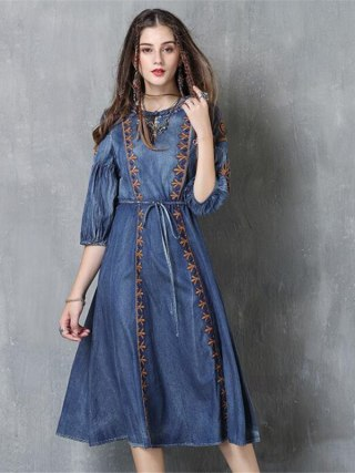 Autumn Denim Dress Clothing Women Jeans Lantern Half Sleeve Dress Vintage Spring Slim Cowboy Casual Long Dresses Blue A3819