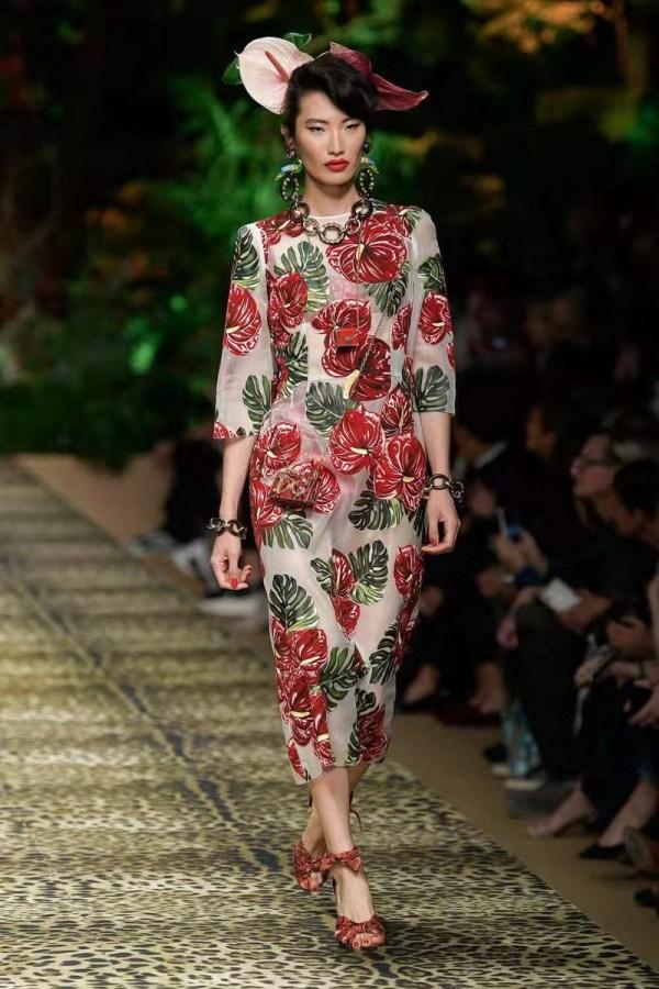 Spring summer runways floral print half sleeves dress high quality women's elegant dress B9