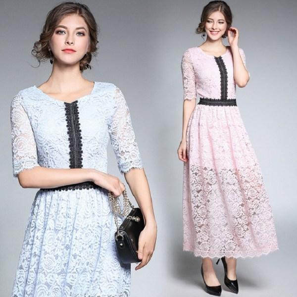 18Fashion Ladies eleganta long lace dress female half sleeve summer pinched waist longos vestidos cultivating party dress tunic