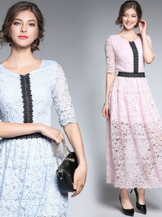 18Fashion Ladies eleganta long lace dress female half sleeve summer pinched waist longos vestidos cultivating party dress tunic