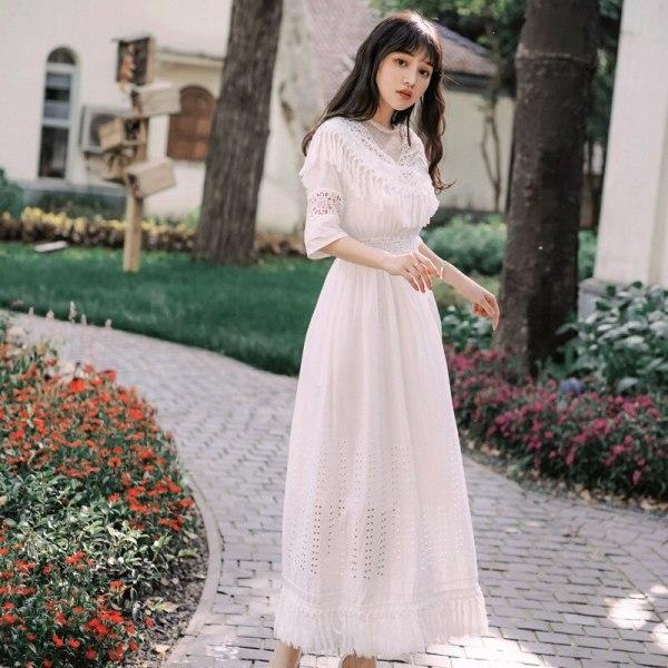 Foamlina Summer Women White Long Dress Sexy Dot Mesh Patchwork Half Sleeve Tassels Hollow Out Casual Female Beach Maxi Dress