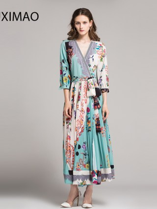 18 High Quality Spring&Fall Dress Newest Cute Style V-Neck Half Sleeve Flower Print Elegant Dress Women