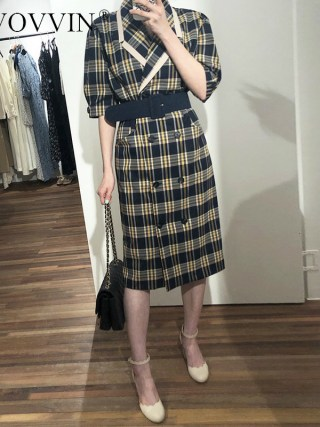 TVVOVVIN 19 Turn-down Collar Half Sleeve Korean Fashion Slim Waist With Belt Patchwork Color Women Korean Dress Tide X139
