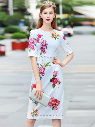 Women Dresses 18 High Quality Summer Runway O-Neck Half Sleeve Printed Beading Lady Dress NPD0776N