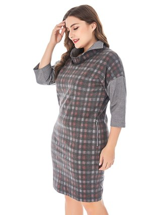 Spring Women Plus Size Spliced Plaid Dress Stand Collar Half Sleeve Elegant Straight Dresses Women Autumn Workwear Midi Dress