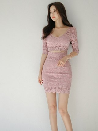 S-XL Plus Size Half Sleeve Sexy Party Dress Women Solid Hollow Out Mini Wrap Fall Dress Womens Autumn Pink Lace Dress for Ladies