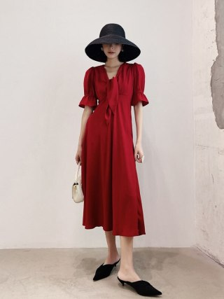 Vintage Ladies Red Dress Sexy Women Summer Autumn Half Sleeve Elegant Party Dresses 19 Sundress Female Festa Vestidos
