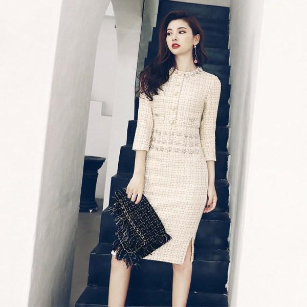 Women Beadings Split Sexy Bodycon Tweed Wool Dress O Neck Casual Work Office Half Sleeve Party Midi Dress Vestido 8404