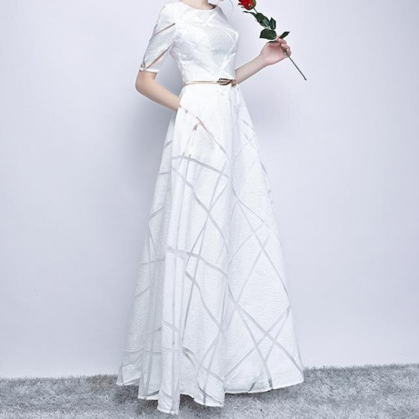 Spring High Quality Stylish Dress Half Sleeve Round Elegant Dress Ball Gown Long Party Dress