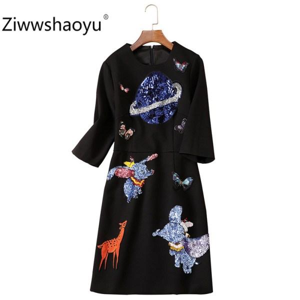 Ziwwshaoyu Women's Autumn Winter Vintage Black Dress Fashion Cartoon Sequin Embroidery Half Sleeve Dresses