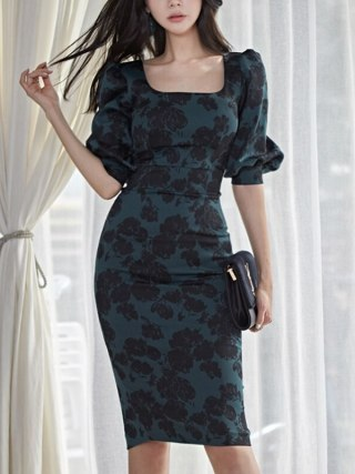 Spring Korean Fashion Slim Leaf Print Square Collar High Waist Midi Dress Elegant Half sleeve Dress Women Party Vestidos