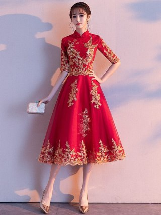Red Womens Halter Half Sleeve Party Dress Chinese Style Lace Cheongsam Wedding Elegant Prom Maxi Qipao Long Gown Vestido XS-XXL