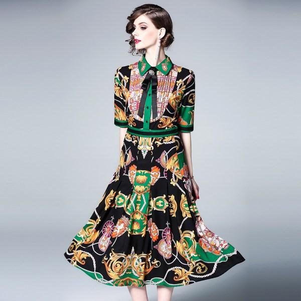 19 Women's Clothing Spring Summer Fashion Turn-down Collar Bow Flowers Printing Dress Half Sleeves Vintage Long Dresses Female