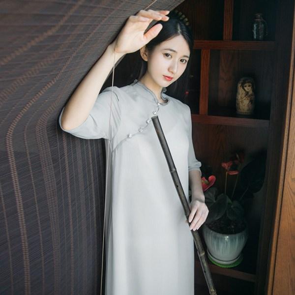 Summer New Tea Art Tea Service Retro Chinese Elements Half Sleeves Meditation Dress Chinese Dress Female