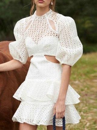 19 New Sexy Hollow Out White Women's Dresses Puff Half Sleeve High Waist Mini Dress