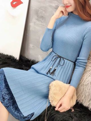 Sweater Dresses Women New Autumn Winter Loose Half Turtleneck Pullover Knit Sweater Dress Long Sleeve Slim Ladies Bottom Dress
