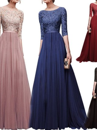 19 Autumn New Elegant Half Sleeve Chiffon Lace Stitching Women Party Prom Evening Much Color Long maxi Dress Female Clothing